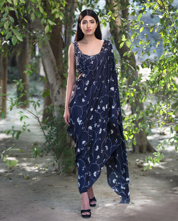 NAvy silk saree